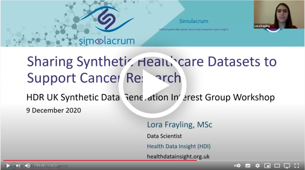 Lora Frayling talking at the HDR UK Synthetic Data Special Interest Group